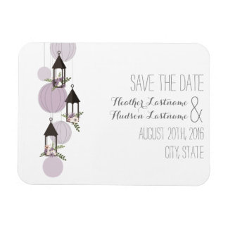 Lavender Floral Lanterns Save The Date Magnet