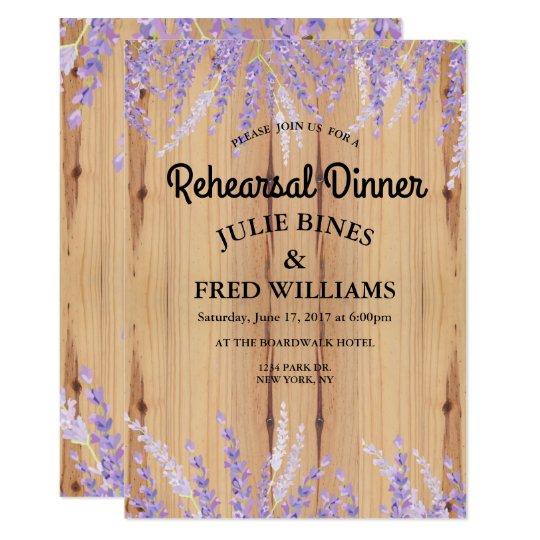 Lavender Floral Rehearsal Dinner Invitation