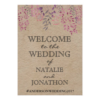 Lavender Floral Wedding Welcome Poster