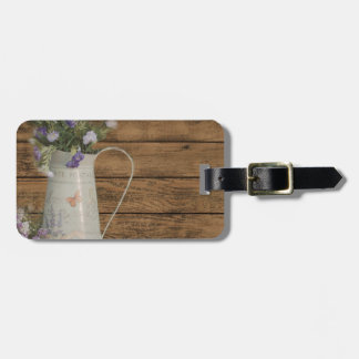 lavender flower rustic barn wood french country bag tag