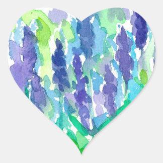 Lavender Flower Watercolor Heart Sticker