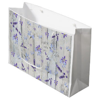 Lavender Flowers and Stems on White Wood Large Gift Bag