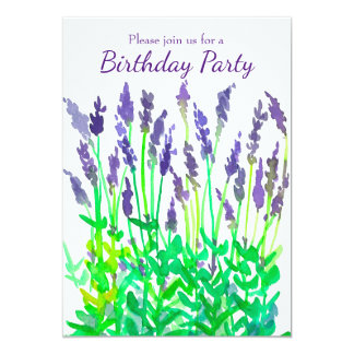 Lavender Flowers Birthday Party Invitation