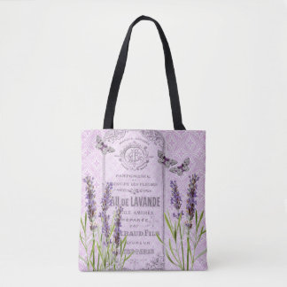 Lavender Flowers French Vintage Collage Butterfly Tote Bag