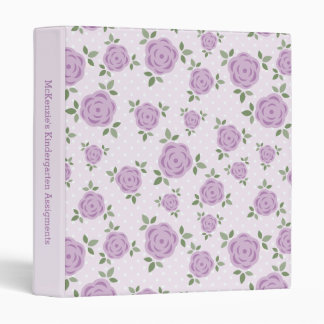 Lavender Flowers Personalized 3 Ring Binder