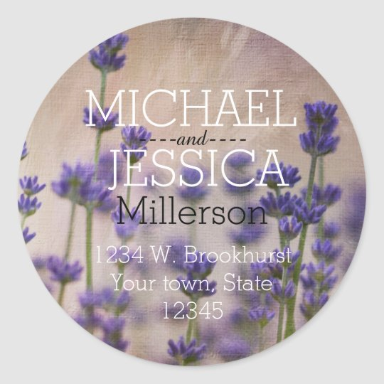 Lavender Flowers Personalized address Classic Round Sticker