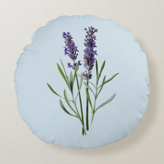 Lavender Flowers Round Pillow