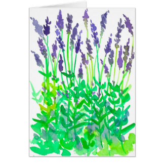 Lavender Flowers Watercolor Happy Birthday Card