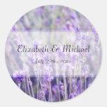 Lavender Flowers Wedding Favour Label Round Sticker