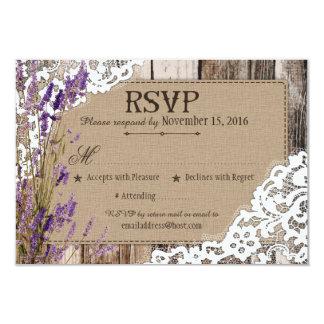 Lavender Flowers Wood Lace Rustic RSVP Card