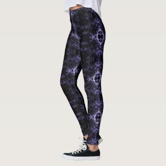 Lavender Fractal Damask Goth Leggings