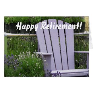Lavender Garden Chair Photo Retirement Card