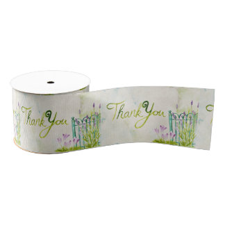 Lavender Garden Thank You Ribbon Grosgrain Ribbon