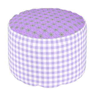 Lavender-Gingham-Mod-Stars-Fun-Pouf Pouf