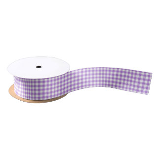 Lavender Gingham Satin Ribbon