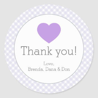 Lavender Gingham with Heart Round Sticker
