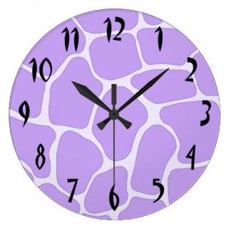 Lavender Giraffe Print Wall Clock