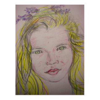 lavender girl postcard