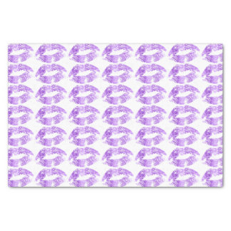 Lavender Glitter Lips Kiss Pattern Tissue Paper