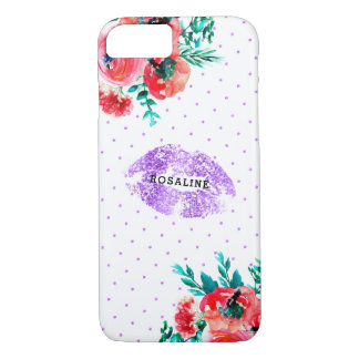 Lavender Glitter Lips & Pink Flower Accent iPhone 8/7 Case