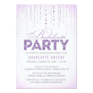 """Lavender Glitter Look Bachelorette Party 5"""" X 7"""" Invitation Card"""