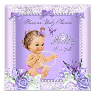 Lavender Gray Baby Shower Girl Brunette Card