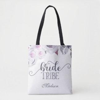 Lavender & Gray Floral Bride Tribe Monogram Tote Bag