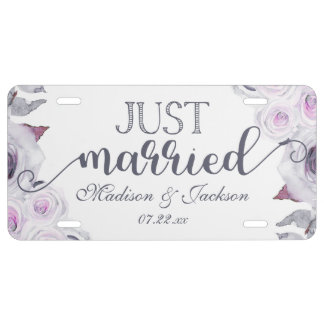 Lavender & Gray Floral Wedding Just Married License Plate