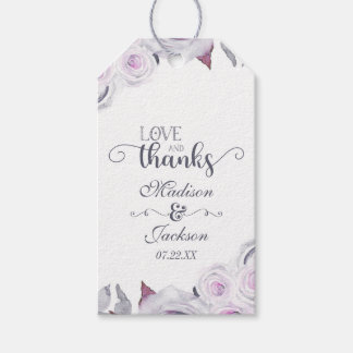 Lavender & Gray Floral Wedding Love & Thanks Gift Tags