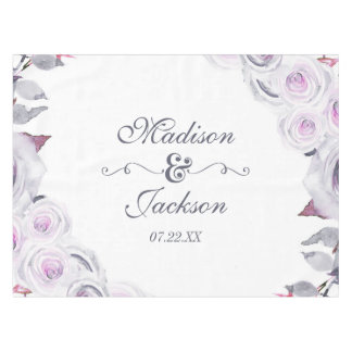 Lavender & Gray Floral Wreath Wedding Monogram Tablecloth