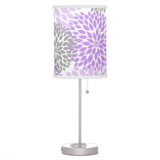 Lavender Gray Grey Dahlia Floral mums lamp