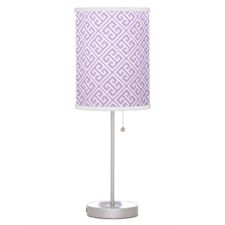 Lavender Greek Key Pattern Table Lamp