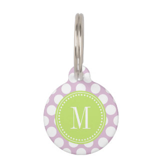 Lavender & Green Big Polka Dots Monogrammed Pet Name Tag
