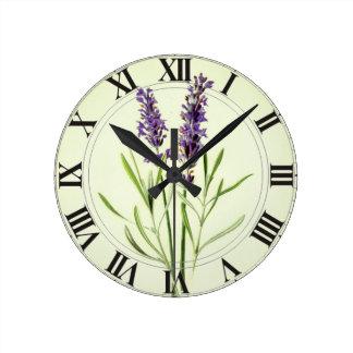 Lavender Green Botanical Clockface Round Clock