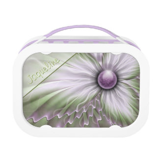 Lavender Green Floral Lunch Box