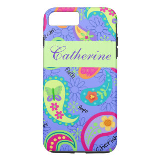 Lavender Green Modern Paisley Name Personalized iPhone 7 Plus Case