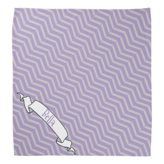 Lavender Grey Chevron Pattern Banner Pet Dog Name Bandana