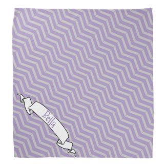 Lavender Grey Chevron Pattern Banner Pet Dog Name Do-rag