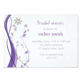 Lavender & grey floral charm invitation