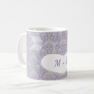 Lavender Grey Floral Heart Arrow Monogram Wedding Coffee Mug
