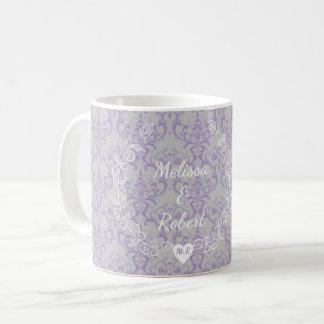 Lavender Grey Floral Heart Wreath Monogram Wedding Coffee Mug