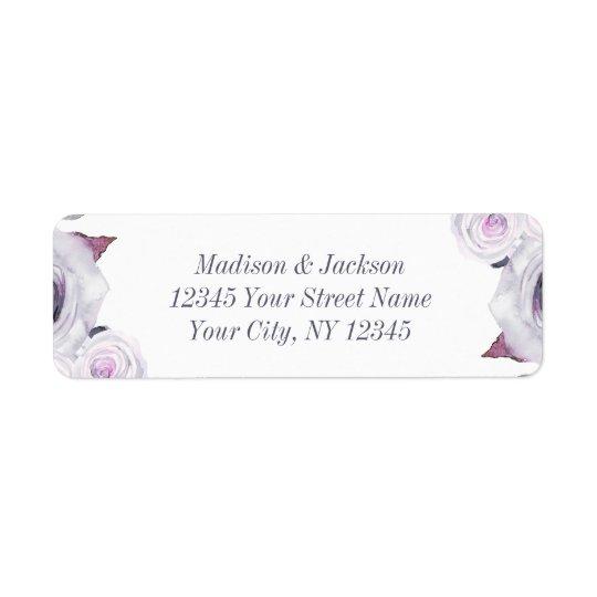 Lavender & Grey Floral Wedding Return Address Return Address Label
