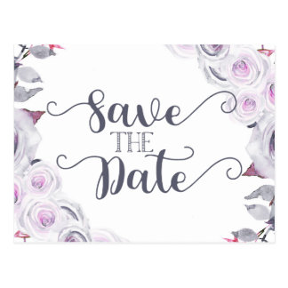 Lavender & Grey Floral Wedding Save the Date Postcard
