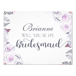 Lavender & Grey Floral Will You Be My Bridesmaid Card