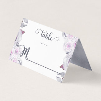 Lavender & Grey Floral Wreath Table Number Place Card
