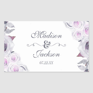 Lavender & Grey Floral Wreath Wedding Monogram