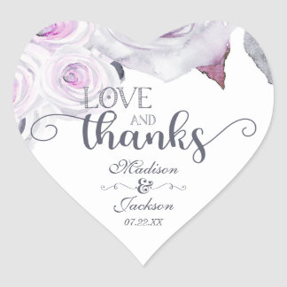 Lavender & Grey Wedding Love & Thanks Favour Heart Sticker
