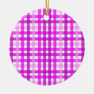 Lavender Grid Ceramic Ornament