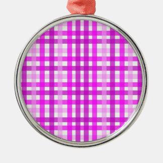 Lavender Grid Metal Ornament