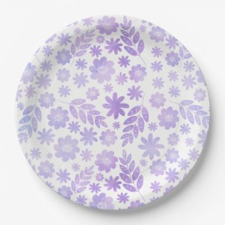 Lavender Hand Drawn Floral Pattern Paper Plate